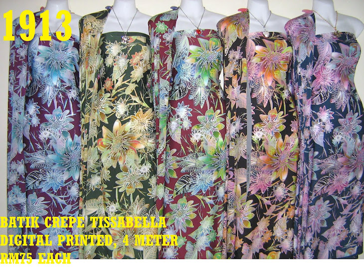 BTD 1913: BATIK CREPE TISSABELLA DIGITAL PRINTED, EXCLUSIVE DESIGN, 4 METER, 5 COLORS