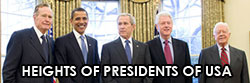 HEIGHTS OF PRESIDENTS OF USA