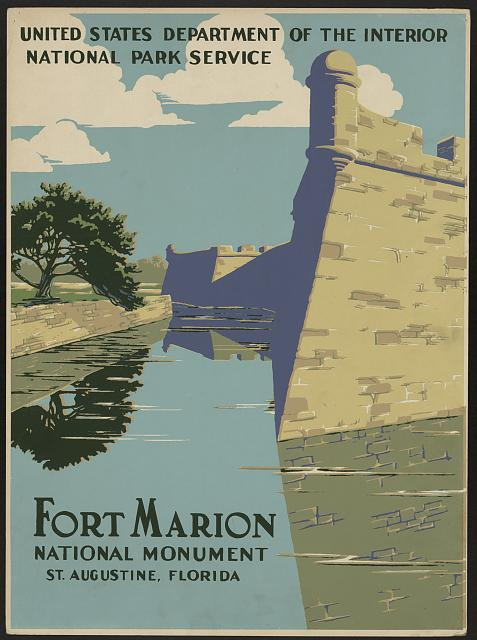 travel, travel posters, national park, vintage, vintage posters, retro prints, classic posters, graphic design, free download, Fort Marion, National Monument, US Dept of Interior National Park Service - Vintage Travel Poster