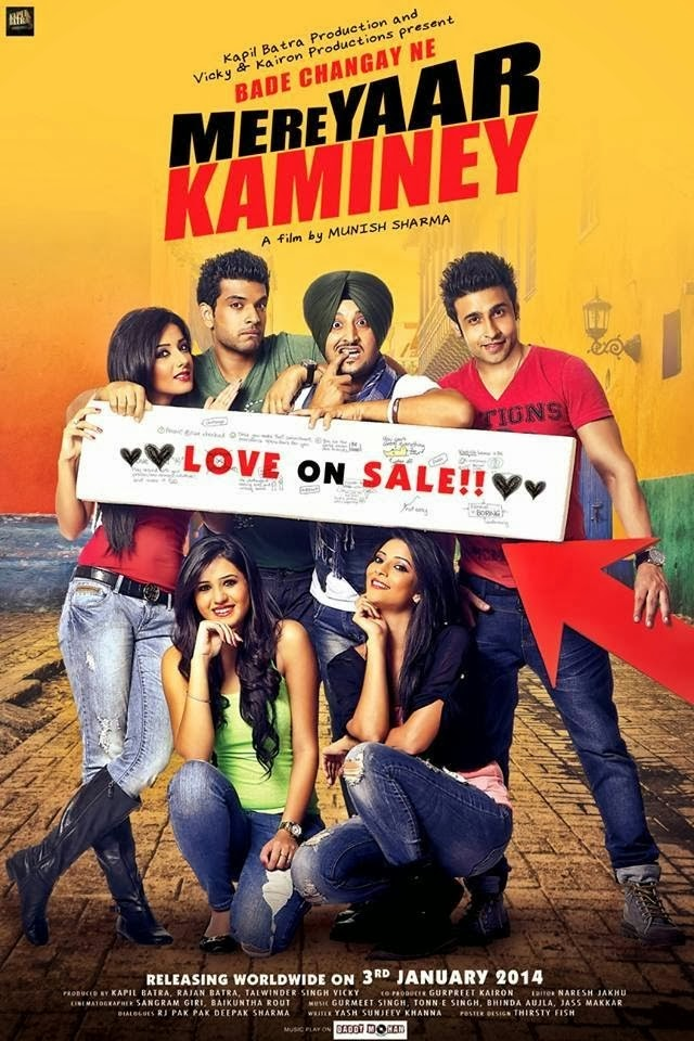Watch Mere Yaar Kaminey (2014) Hindi Punjabi HD DVDRip Full Movie Watch Online For Free Download