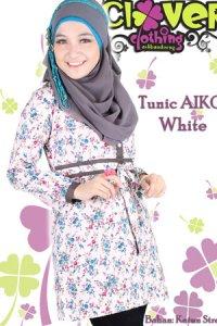 Clover Clothing Blus Aiko - White (Toko Jilbab dan Busana Muslimah Terbaru)