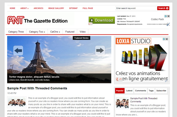 Wootheme - The Gazette Edition Blogger Template BTDesigner