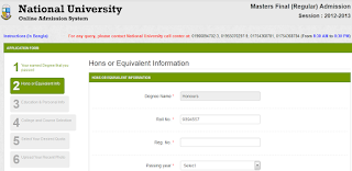Masters Final (Regular) Admission 2012-2013 National University