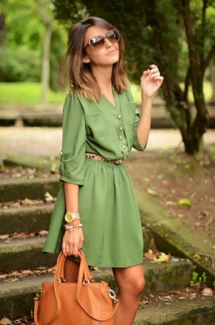 Beautiful 3/4 sleeve green pocket dress fashion trend
