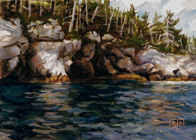 Southwest Cove, gouache on art panel, by Shannon Reynolds