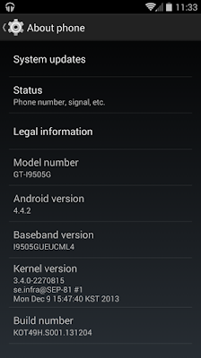 Samsung GS4 Android 4.4.2