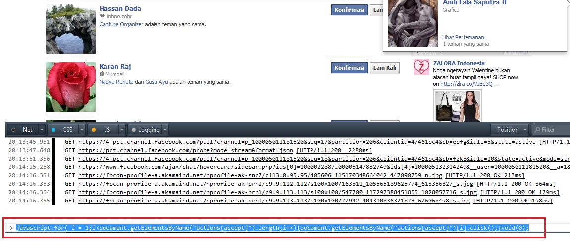 Auto Accept Pertemanan di Facebook - Firefox