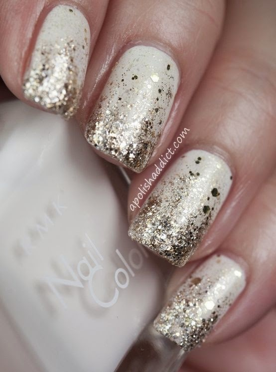 dirtbin designs gold white christmas nails - White Christmas Nails