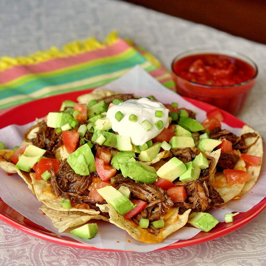 Apple Barbeque Pulled Pork Nachos