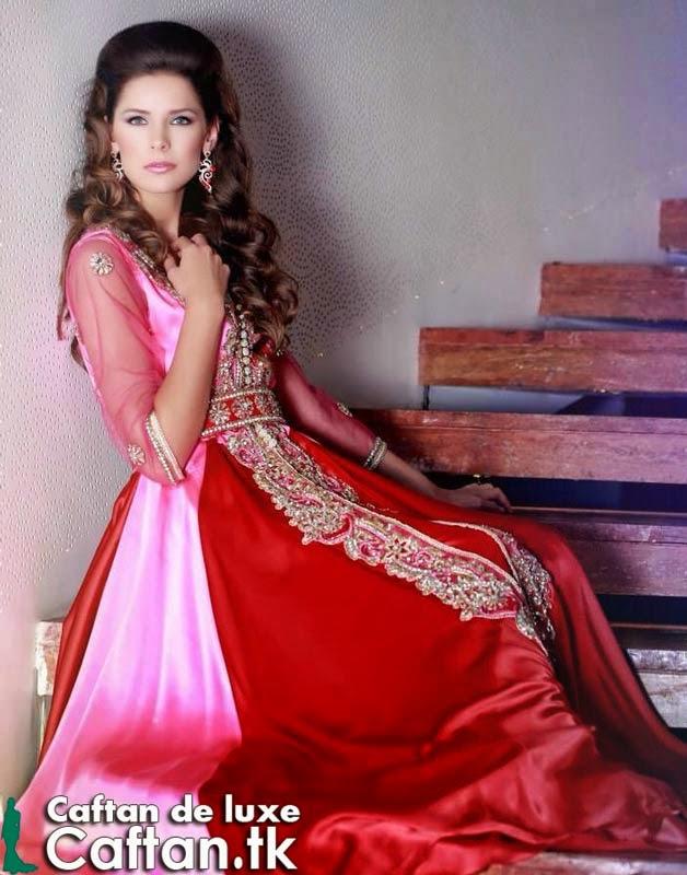Caftan marocain rouge transparent vente enligne