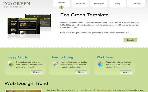Free Nature Eco Green Grey CSS Website Template