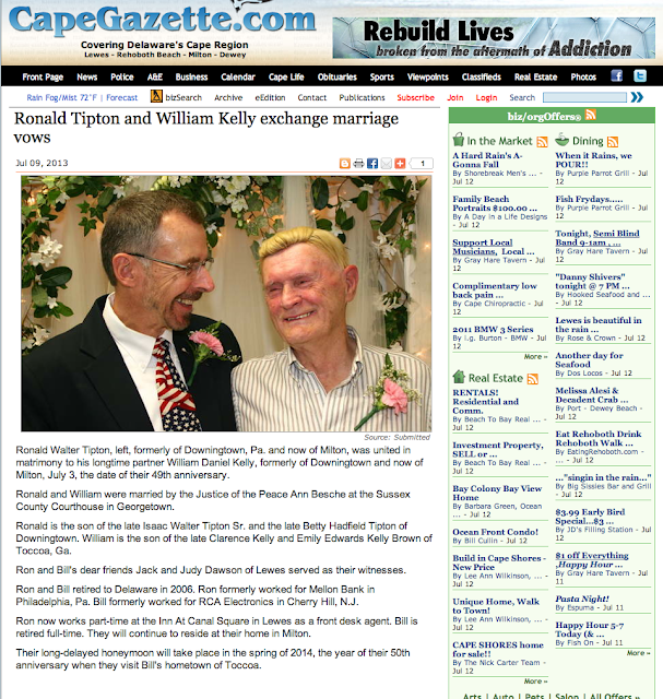 Newspaper Wedding Announcement: Retired In Delaware: Wedding Announcement