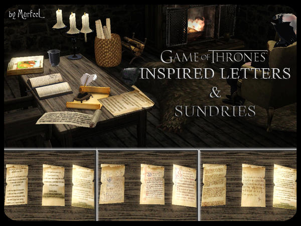 My Sims 3 Blog Murfeel 39 S Game Of Thrones Inspired Scribe Set