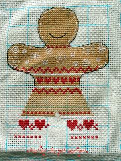 """Вышивка по схеме из журнала """"Cross Stitcher"""" - """"Ginger men""""/""""Имбирные (пряничные) человечки"""" - украшение на ёлку - подвески - новогодние"""