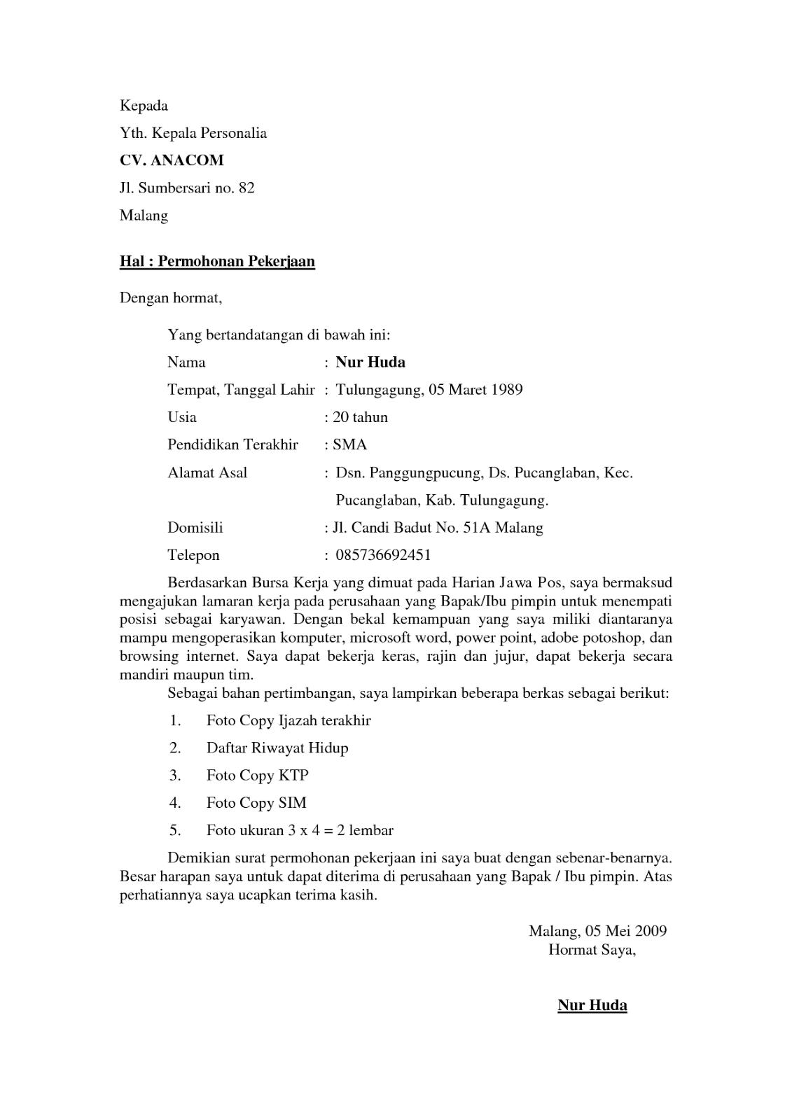 Contoh Surat Lamaran Kerja Guru Doc Contoh Surat Lamaran