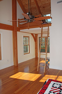timber frame bedroom with shipsladder