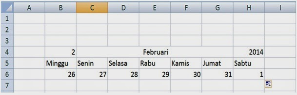 Tanggal kalender bulan Februari 2014
