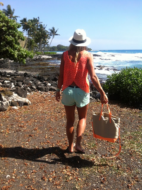 coral and mint beach outfit style