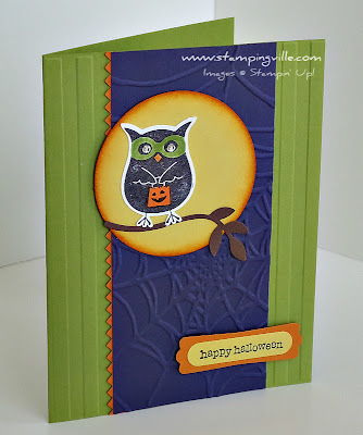 Hand Stamped Happy Halloween Greeting Card