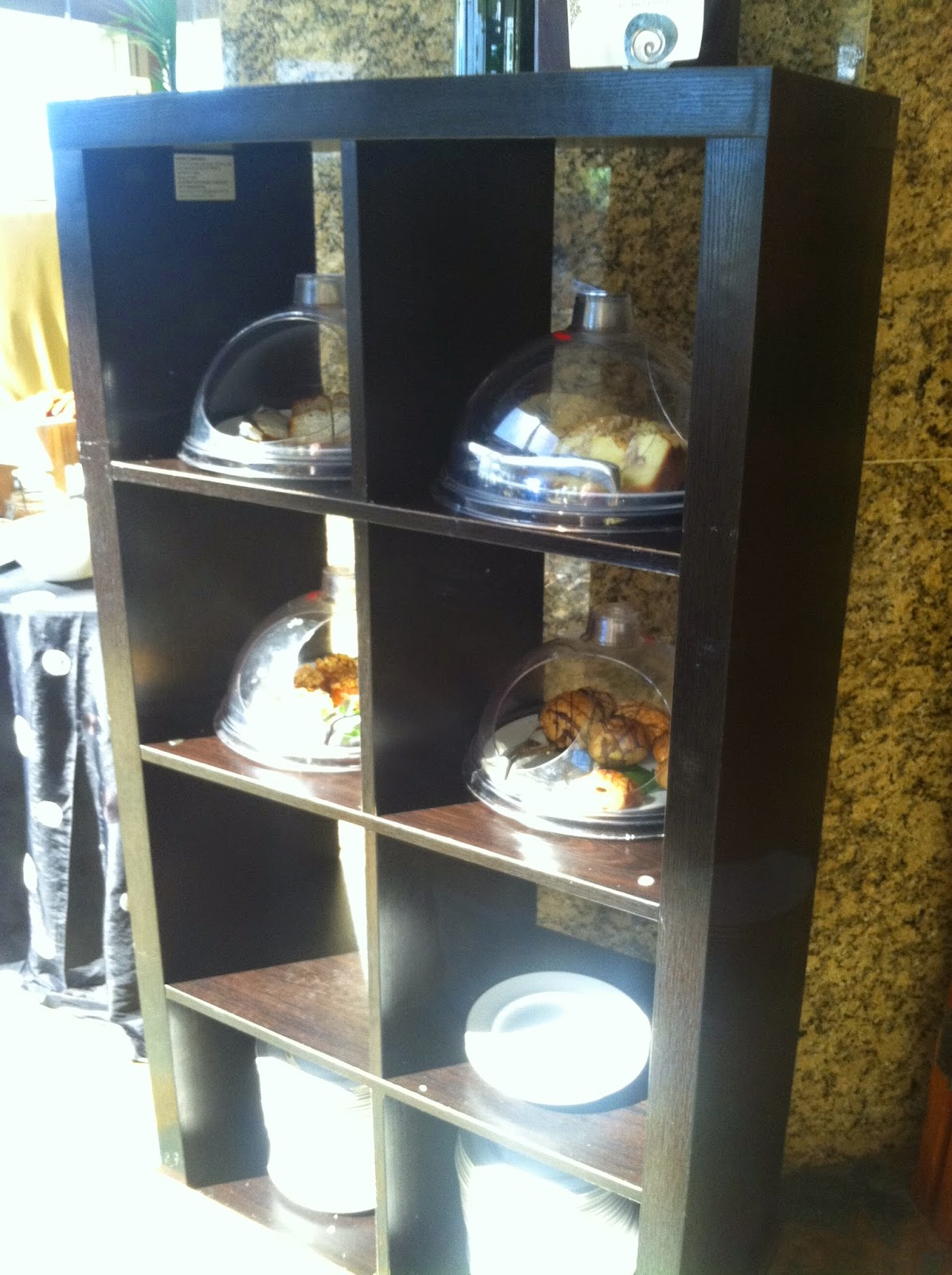 This bookshelf is perfect for displaying desserts