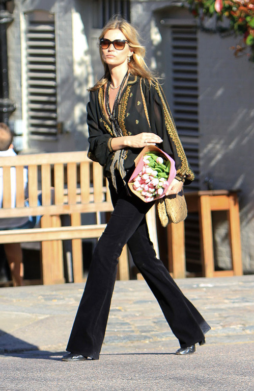 Kate Moss in vintage boho blouse