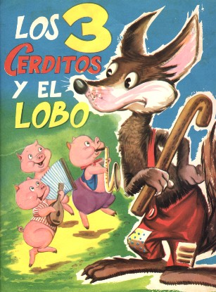 Dibujo de los Tres Cerditos o 3 chanchitos y el lobo