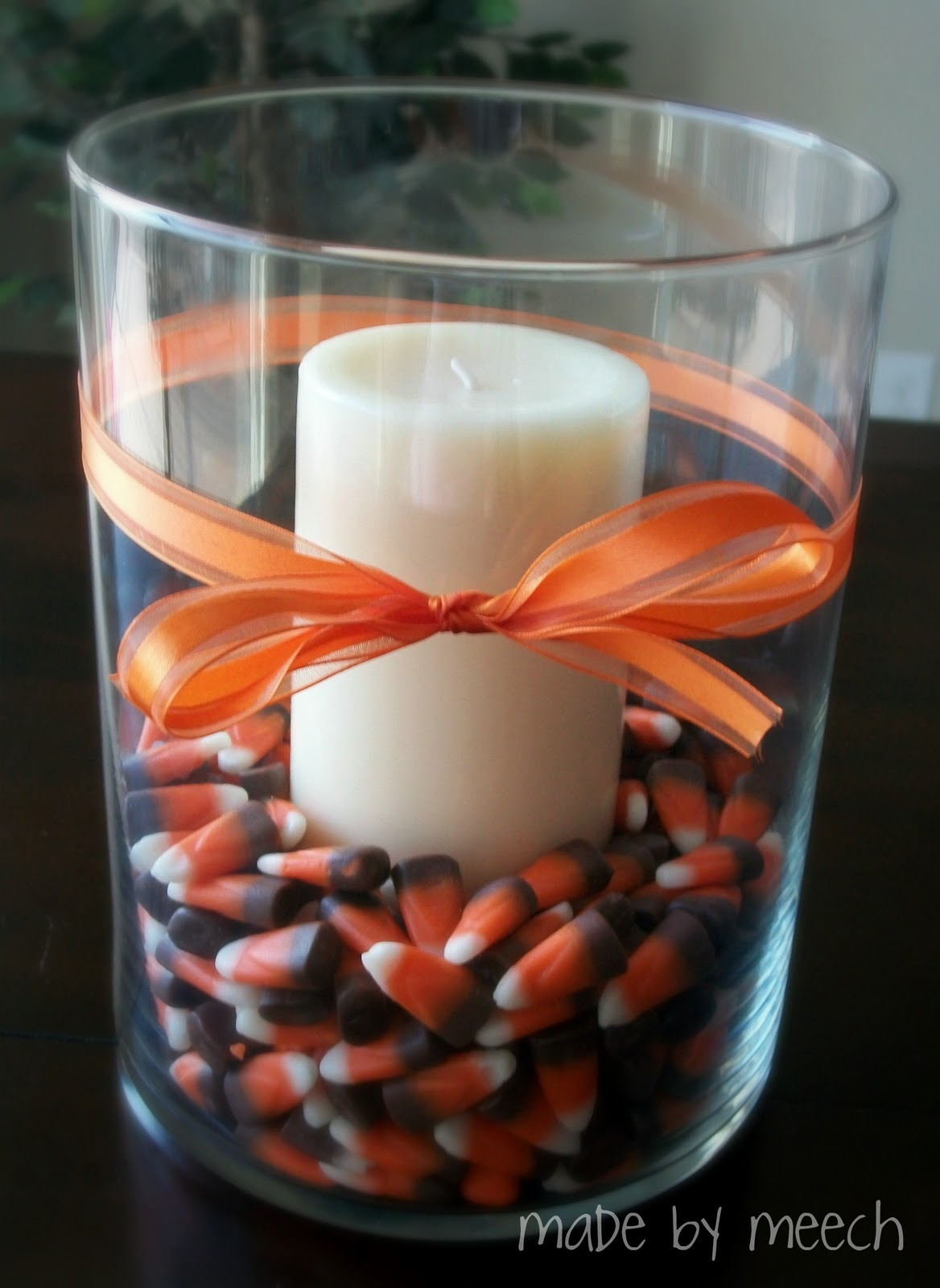 Made by meech candy corn centerpiece