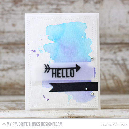 Arrow Hello Card by Laurie Willison featuring the Arrow Greetings and Wonky Stitched Rectangle STAX Die-namics #mftstamps