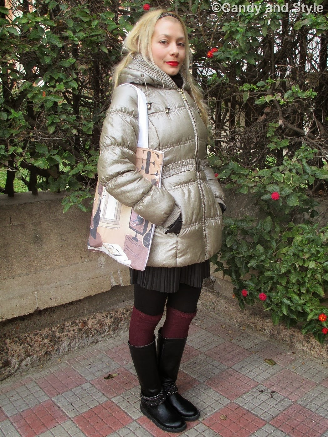 Puffer Coat, Pleated Skirt, Knee-Highs, QVC Shopper Bag