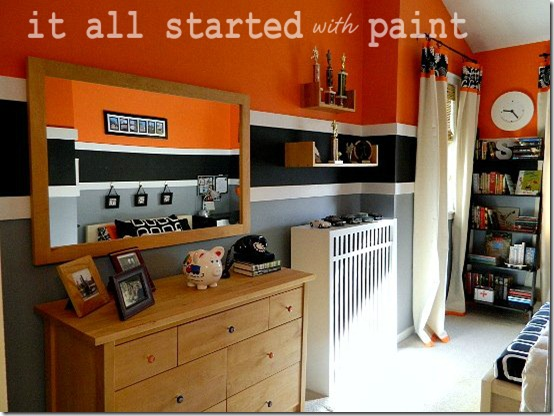 Boys Modern Orange Striped Bedroom - Design Dazzle