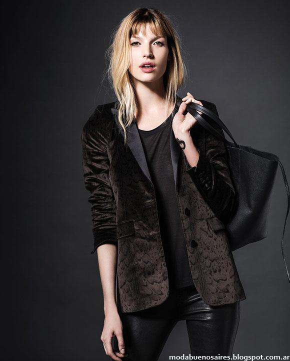 Abrigos 2014 sacos de terciopelo moda invierno 2014 Etiqueta Negra Mujer.