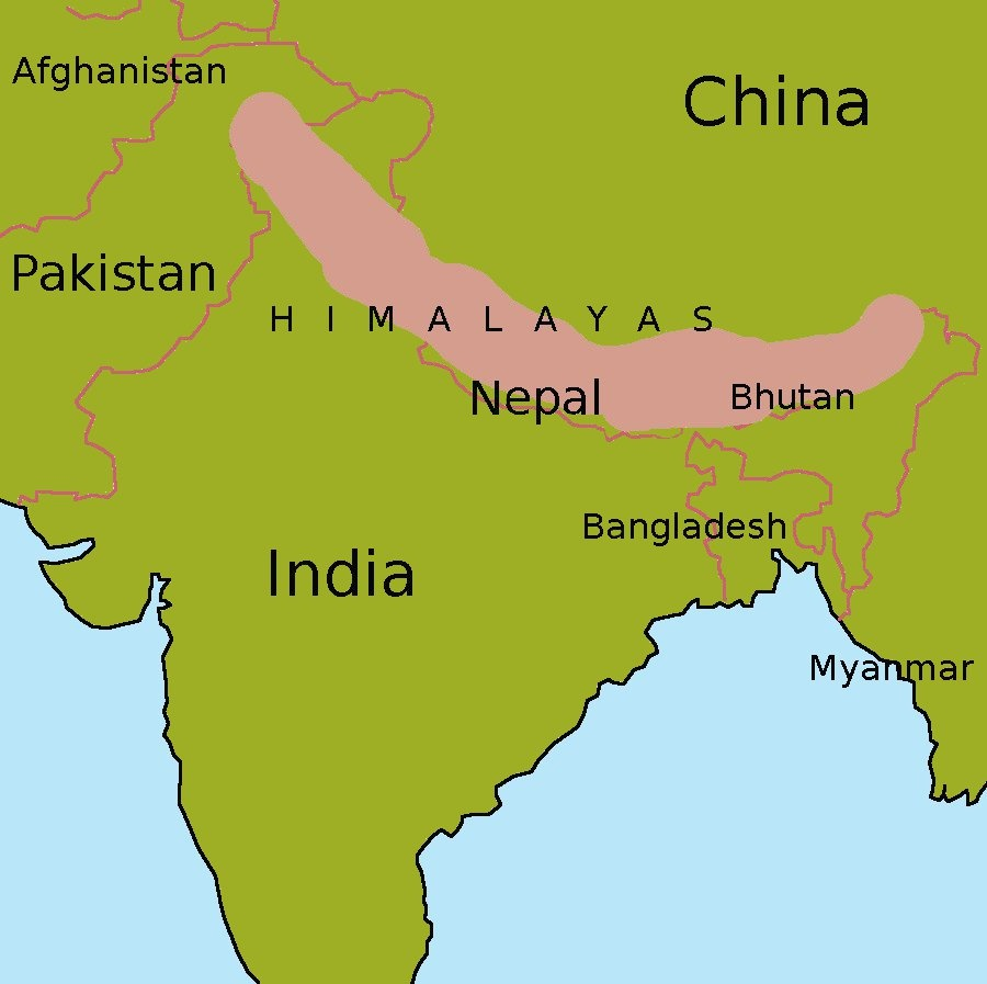 Himalayas Location On Map.