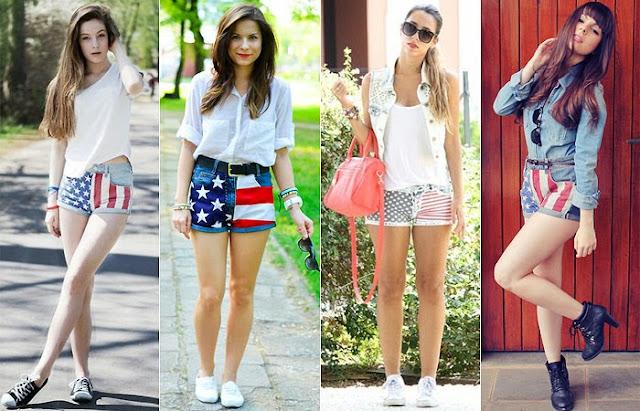 4 looks de blogueiras com camisas brancas e shorts com estampas de bandeiras