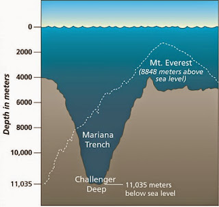 Graph Comparing the Mariana Trench with Mount Everest