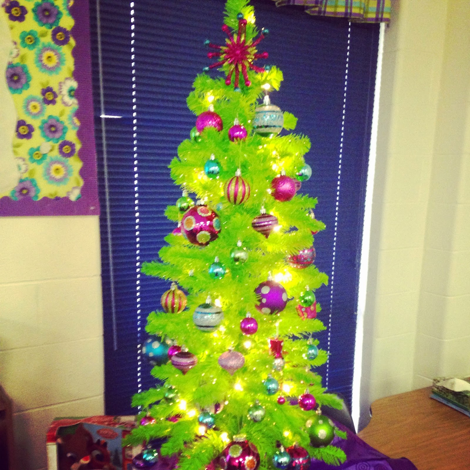 the kids love it and even argued over who is going to get to turn on the christmas lights in the morning and who got to turn them off - Purple And Lime Green Christmas Decorations