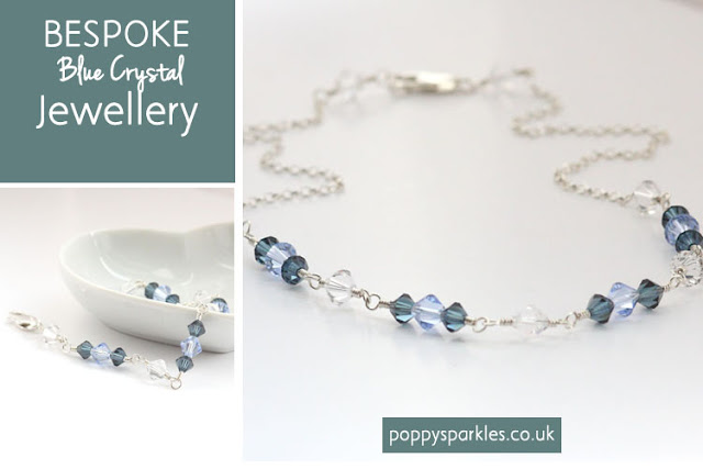 Blue Bespoke Crystal Jewellery set by Poppy Sparkles