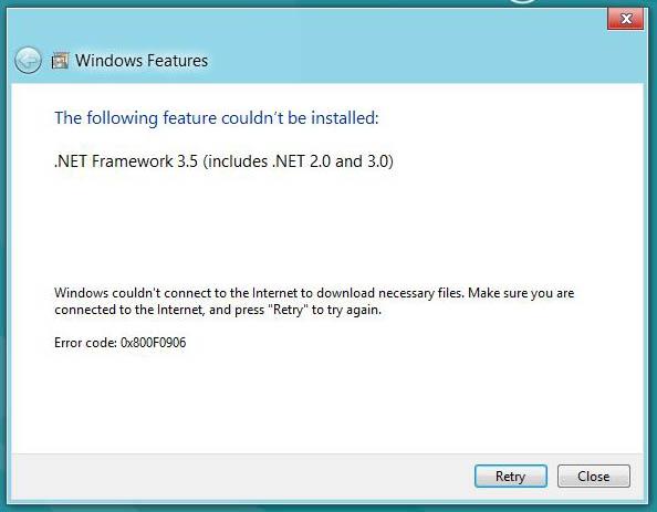 Error Install .NET Framework 0x800F0906
