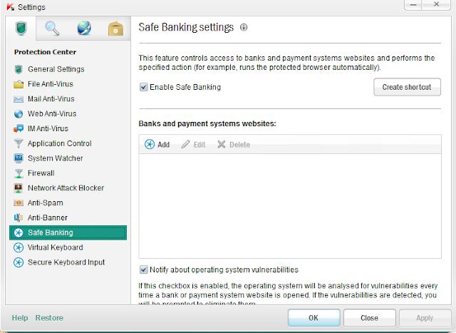 Kaspersky Internet Security 2013 - Safe Banking
