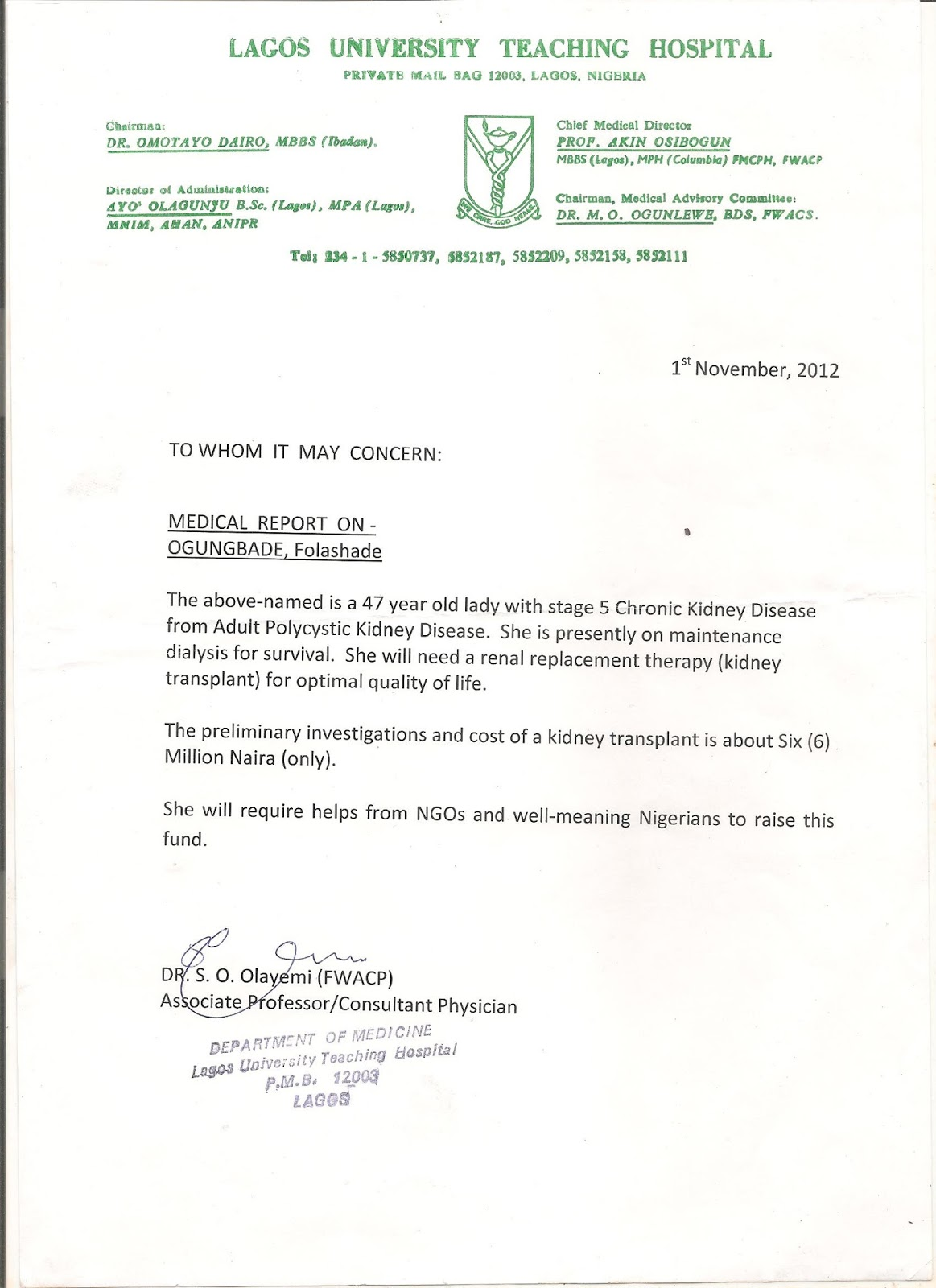 Appeal for financial assistance kidney transplant ms folashade t letter from luth thecheapjerseys Image collections