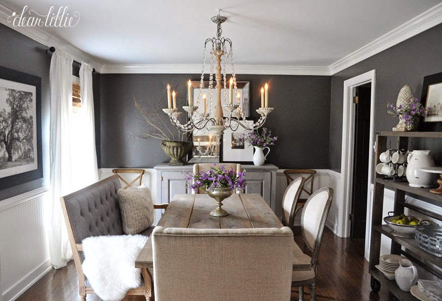 Kendall charcoal in our dining room dear lillie bloglovin for Dark grey dining room
