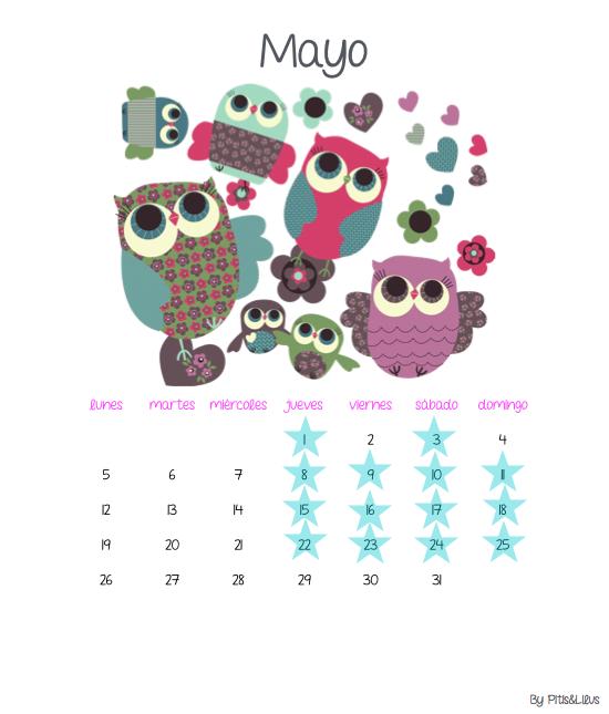 Calendario Imprimible Mayo 2014