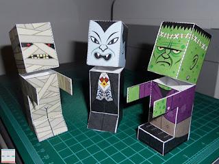Papercraft imprimible y armable de dispensadores de caramelos de monstruos para el Día de Todos los Santos o Halloween. Manualidades a Raudales.