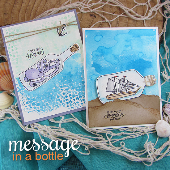 Kraken & ship in a bottle cards by Jennifer Jackson | Message in a Bottle Stamp set by Newton's Nook Designs