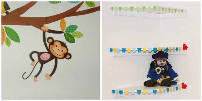 collage of monkey from wall stickers and shelves with trim.