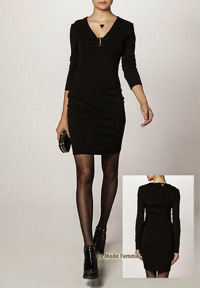 Robe courte près du corps en jersey noir Versace Jeans