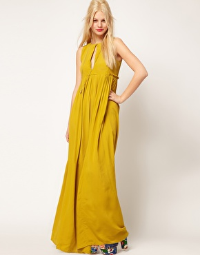 ASOS Collection Pleated Keyhold Maxi Gown Antique Moss