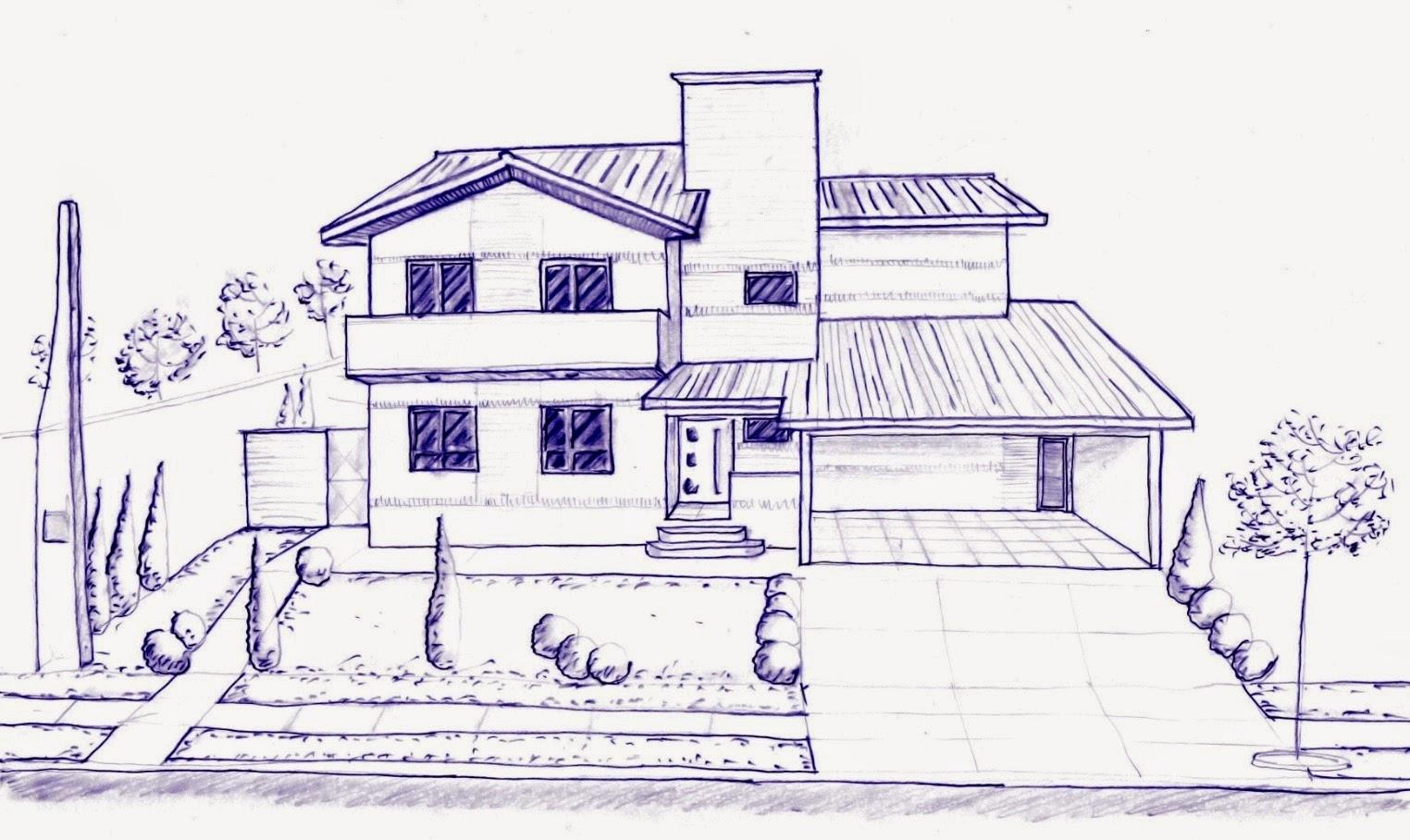 Os primeiros estudos, feitos à mão livre, já continham os conceitos que embasam o partido arquitetônico deste projeto.