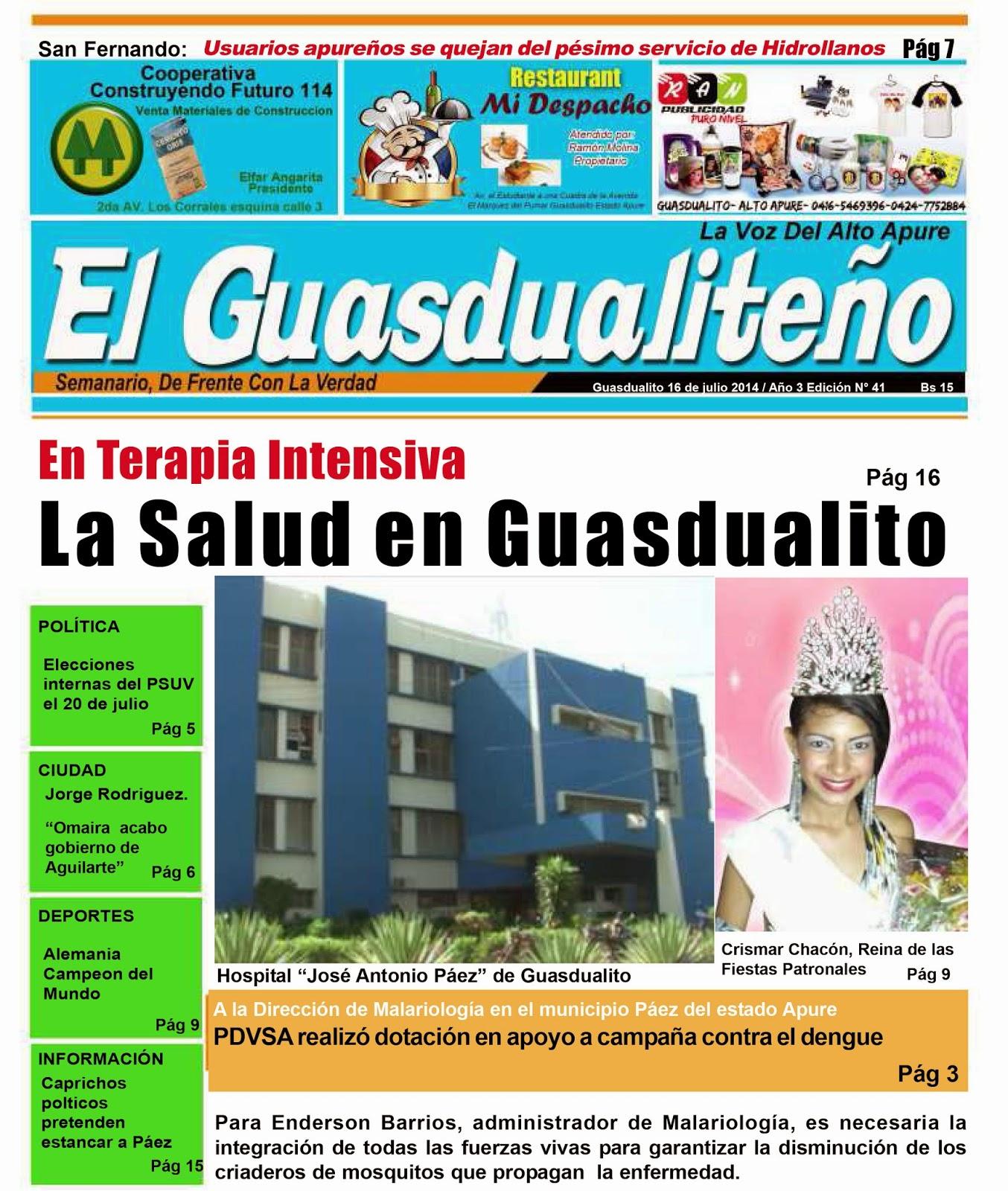 Portada del Semanario El Guasdualiteño.