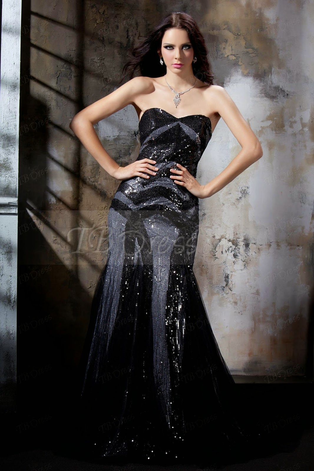 Strapless Beading Mermaid Long Tassel Polina's Evening/Pageant Dress