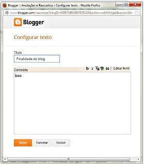 Box para digitar seu texto informando sobre você e qual seu propósito como blogueiro (a). Seja direto, escreva resumidamente.